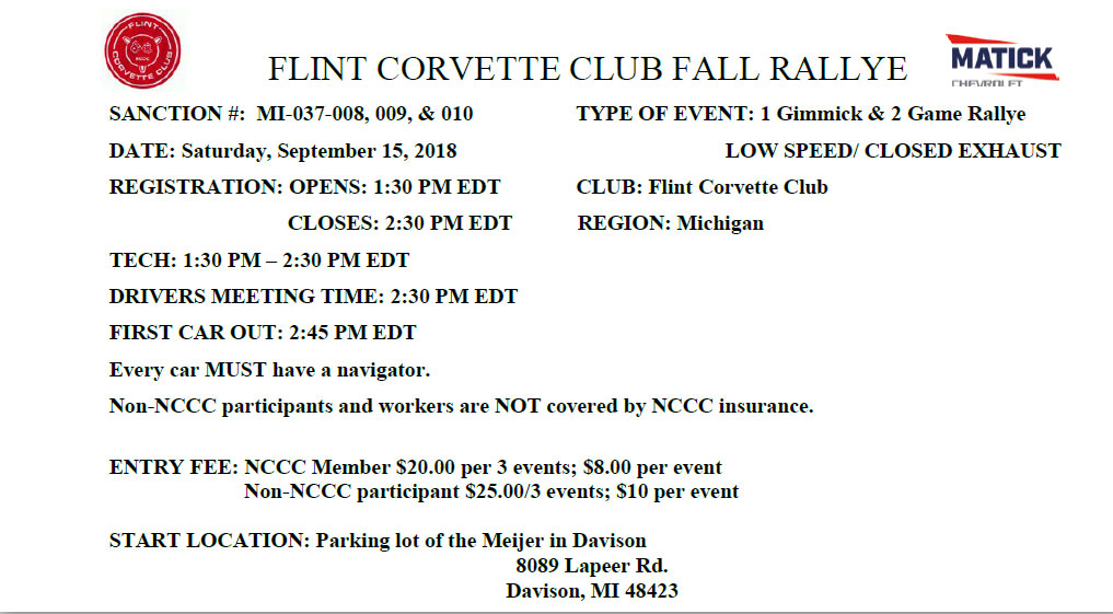 Flint Corvette Club Fall Rallye